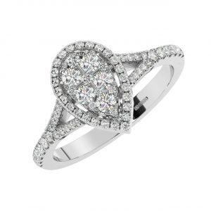 FR1982 0.50CT Pave Set Round Brilliant Cut Diamonds Half Eternity Ring-1