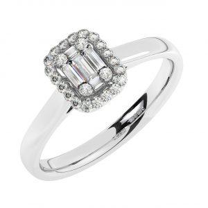FR1987 0.25CT Pave Set Round & Baguette Cut Diamonds Halo Engagement Ring-1