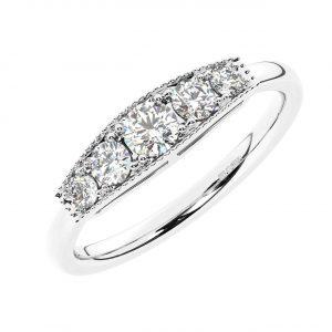 FR2001 0.50Ct Pave Set Round Brilliant Cut Diamonds Half Eternity Ring-1