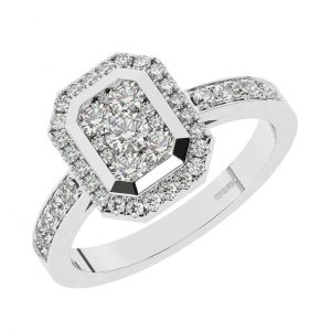 FR2006 1.00 Ct Cluster Set Round Brilliant Cut Diamonds Half Eternity Engagement Ring-1