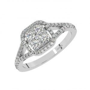 FR2011 1Ct Cluster Set Round Brilliant Cut Diamond Halo Engagement Ring-1