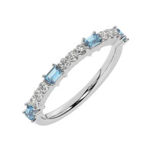 FR2033A 0.75cts Round & Baguette Cut Diamond with Aquamarine Half Eternity Ring-1