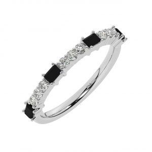 FR2033B 0.75cts Round & Baguette Cut Diamond with Black Diamond Half Eternity Ring-1