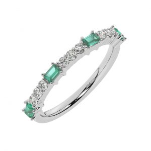 FR2033E 0.75cts Round & Baguette Cut Diamond with Emerald Half Eternity Ring-1