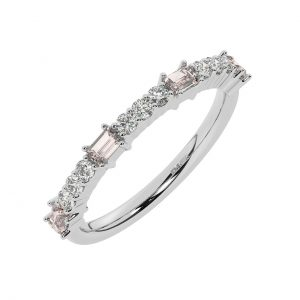 FR2033M 0.75cts Round & Baguette Cut Diamond with Morganite Half Eternity Ring-1
