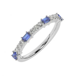 FR2033S 0.75cts Round & Baguette Cut Diamond with Blue Sapphire Sapphire Half Eternity Ring-1