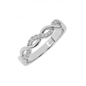 D360222 0.20cts Fishtail Set Round Brilliant Cut Diamond Half Eternity Ring-1