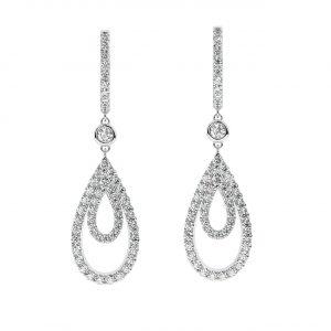 FE2004 1.40 Ct Claw Set Round Brilliant Cut Diamonds Dangler Earrings-1