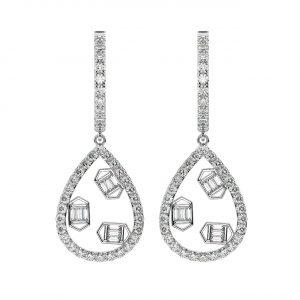 FE2006 0.75cts Pave Set Round & Baguette Cut Diamond Dangler Earrings-1