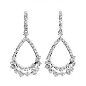 FE2007 0.50 cts Fishtail Set Round & Baguette Cut Diamond Dangler Earrings-1