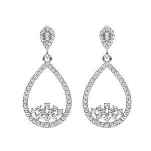 FE2012 1carat Prong Set Round Brilliant Cut Diamonds Dangler Earrings-1