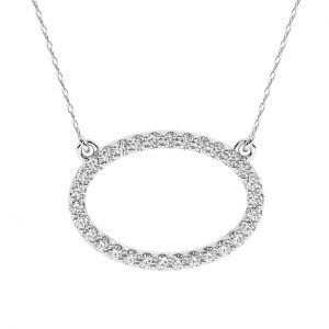 FP701 0.30 Carat Pave Set Round Brilliant Cut Diamonds Oval Necklace-1