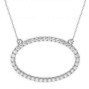 FP702 0.30 Carat Pave Set Round Brilliant Cut Diamonds Oval Necklace-1