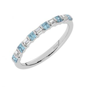 FR0514A 0.75cts Princess & Baguette Diamond with Aquamarine Half Eternity Ring-1
