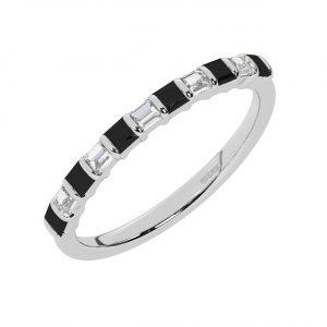 FR0514B 0.75cts Princess & Baguette Diamond with Black Diamond Half Eternity Ring-1