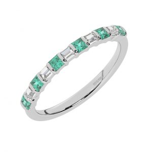 FR0514E 0.75cts Princess & Baguette Diamond with Emerald Half Eternity Ring-1