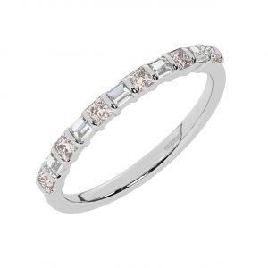 FR0514M 0.75cts Princess & Baguette Diamond with Morganite Half Eternity Ring-1