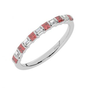 FR0514R 0.75cts Princess & Baguette Diamond with Ruby Half Eternity Ring-1