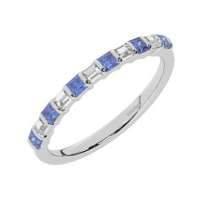 FR0514S 0.75cts Princess & Baguette Diamond with Blue Sapphire Half Eternity Ring-1
