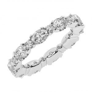FR1963 3.50 carat Claw Set Round Brilliant Cut & Oval Diamond Full Eternity Ring-1
