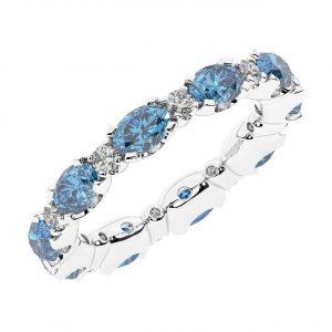 FR1963A 3.50 carat Claw Set Round Brilliant Cut Diamond & Oval Aquamarine Full Eternity Ring-1