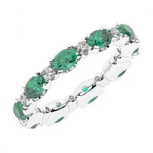 FR1963E 3.50 carat Claw Set Round Brilliant Cut Diamond & Oval Emerald Full Eternity Ring-1