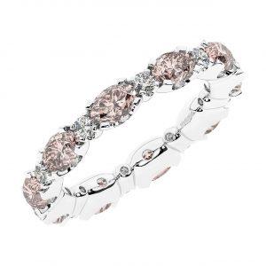 FR1963M 3.50 carat Claw Set Round Brilliant Cut Diamond & Oval Morganite Full Eternity Ring-1
