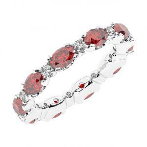 FR1963R 3.50 carat Claw Set Round Brilliant Cut Diamond & Oval Ruby Full Eternity Ring-1