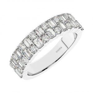 FR1965 1.50 carat Claw Set Round Brilliant Cut & Baguette Cut Diamond Half Eternity Ring-1