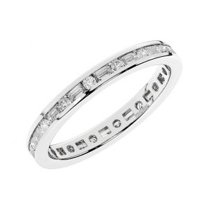 FR1967 0.75 Carat Channel Set Round Brilliant & Baguette Cut Diamond Half Eternity Ring-1