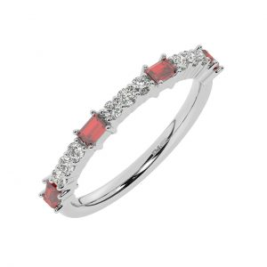 FR2033R 0.75cts Round & Baguette Cut Diamond with Ruby Half Eternity Ring-1