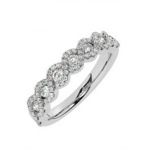 FR2034 0.50ct Fishtail Set Round Brilliant Cut Diamond Half Eternity Ring-1
