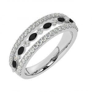 FR2037B 1.50ct Fishtail Set Round Brilliant Cut Diamond & Black Diamond Half Eternity Ring-1