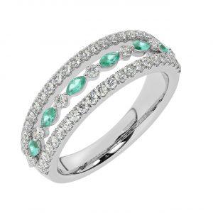 FR2037E 1.50ct Fishtail Set Round Brilliant Cut Diamond & Emerald Half Eternity Ring-1