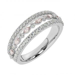 FR2037M 1.50ct Fishtail Set Round Brilliant Cut Diamond & Morganite Half Eternity Ring-1