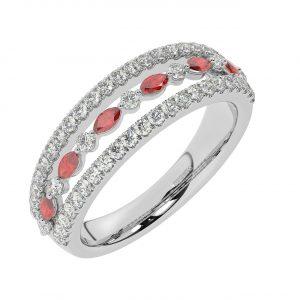 FR2037R 1.50ct Fishtail Set Round Brilliant Cut Diamond & Ruby Half Eternity Ring-1