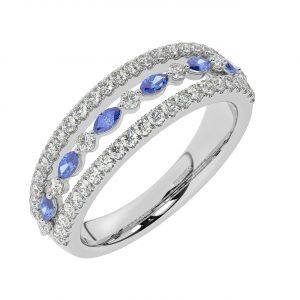 FR2037S 1.50ct Fishtail Set Round Brilliant Cut Diamond & Blue Sapphire Half Eternity Ring-1