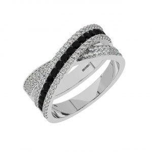FR2040B 1.5cts Channel Set Round Cut Diamond with Black Diamond Half Eternity Ring-1