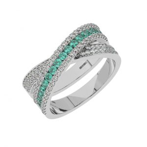 FR2040E 1.5cts Channel Set Round Cut Diamond with Emerald Half Eternity Ring-1