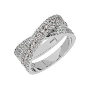 FR2040M 1.5cts Channel Set Round Cut Diamond with Morganite Half Eternity Ring-1