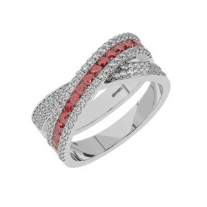FR2040R 1.5cts Channel Set Round Cut Diamond with Ruby Half Eternity Ring-1