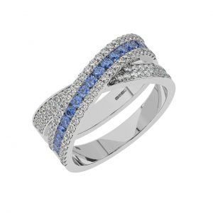 FR2040S 1.5cts Channel Set Round Cut Diamond with Blue Saapphire Half Eternity Ring-1