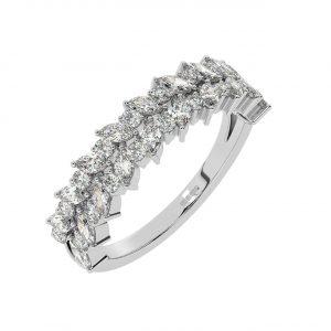 FR2044 1cts Claw Set Round Diamond & Marquise Blue Sapphire Half Eternity Ring-1