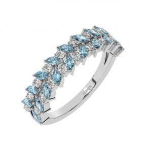 FR2044A 1.50cts Claw Set Round Diamond & Marquise Aquamarine Half Eternity Ring-1