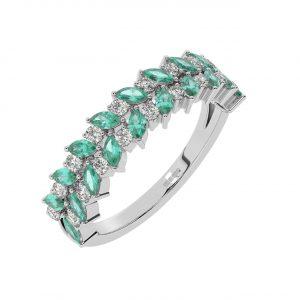 FR2044E 1.50cts Claw Set Round Diamond & Emerald Diamond Half Eternity Ring-1