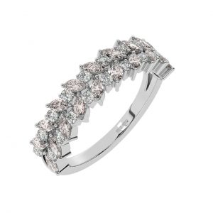 FR2044M 1.50cts Claw Set Round Diamond & Morganite Diamond Half Eternity Ring-1