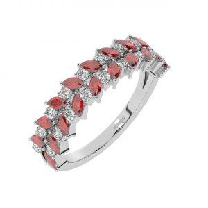 FR2044R 1.50cts Claw Set Round Diamond & Ruby Diamond Half Eternity Ring-1