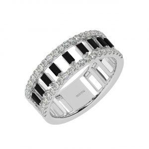 FR2045B 1.0cts Claw Set Round Cut Diamond & Black Diamond Half Eternity Ring-1
