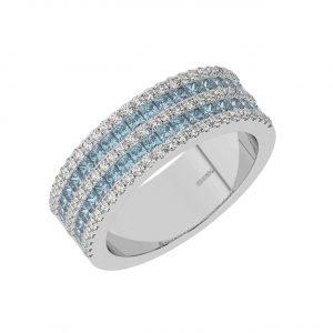 FR2049A 0.50cts Claw Set Baguette Cut Aquamarine Half Eternity Ring-1