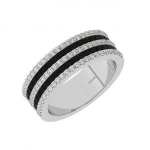 FR2049B 0.50cts Claw Set Baguette Cut Black Diamond Half Eternity Ring-1
